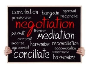 Word negotiation in red on a chalkboard, with mediation, permit, reconcile and other such words in chalk.