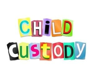 Illustration depicting a set of cut out printed letters formed to arrange the words child custody.