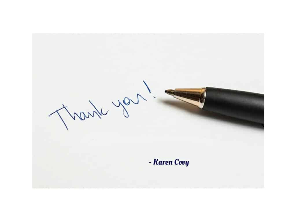 Thank you note with pen.