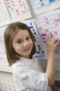Smiling young girl pointing to a colored calendar page on the wall.