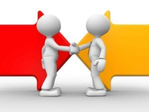 Two figures shaking hands. Red and yellow arrows point to each other in the background.