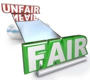 Fair Vs Unfair Words Balanced on Scale Justice Injustice