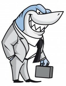 Cartoon of a shark dressed as a lawyer.