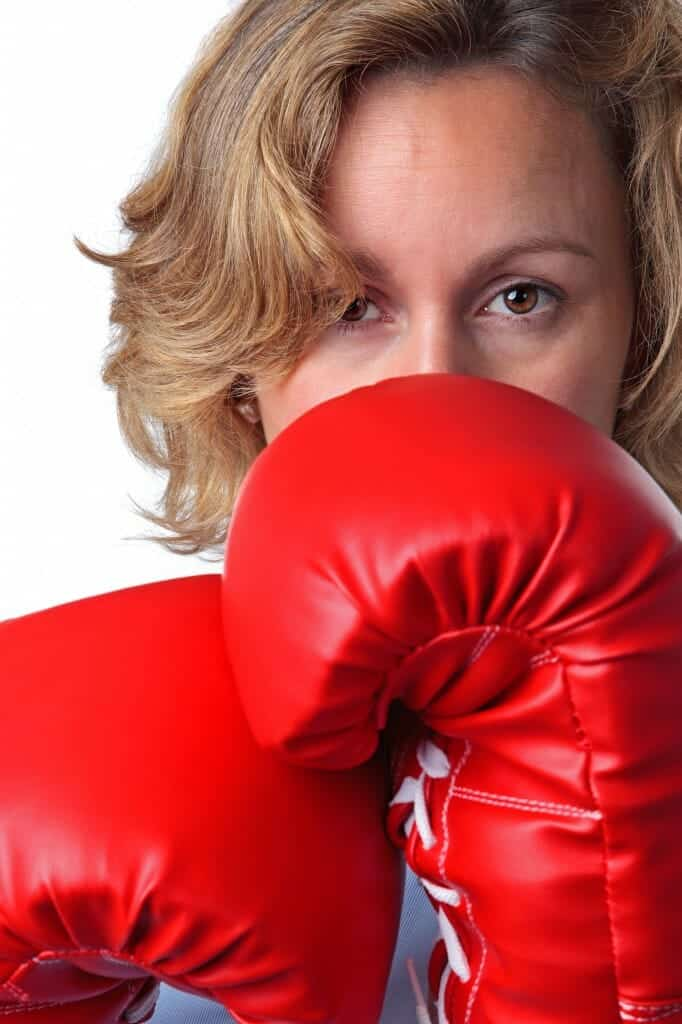 Woman with red boxing gloves.