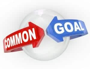 "white ball with red arrow saying ""common"" meeting a blue arrow saying ""goal"" around the ball."