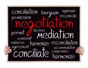 someone holding a chalkboard with words like negotiation, mediation, conciliation etc on it.