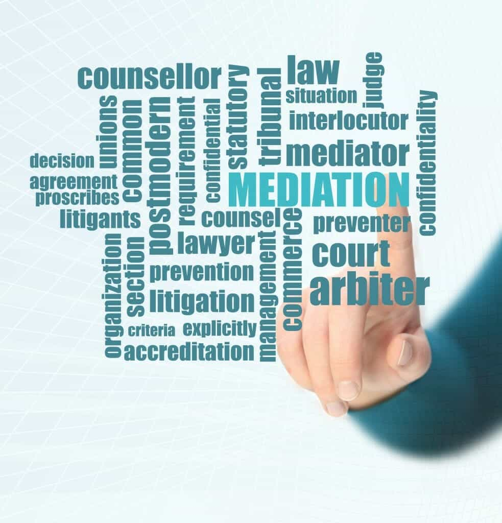 """Finger pointing to a word bubble with """"Mediation, counsellor, arbitor, litgation"""" etc in it."""