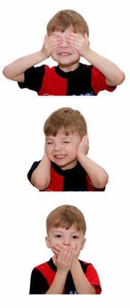 3 pictures of a little boy: in one he is covering his eyes, in one he is covering his ears, in one he is covering his mouth