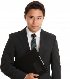 Young man in a business suit.
