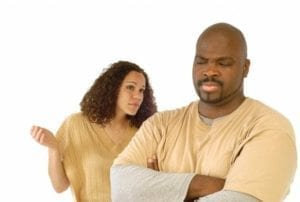 African American couple having a disagreement. How to talk to your ex?