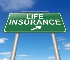 Sign with Life insurance and an arrow on it, designating life insurance and divorce.
