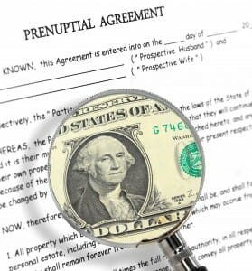 Close up of a prenuptial agreement. A magnifying glass on it shows a dollar bill.