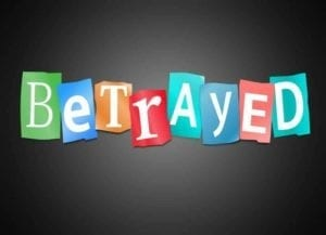 "Colored Construction Paper with letters spelling the word ""Betrayed"""