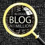 Divorce Blog. Magnifying glass over the word BLOG.