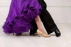 Feet of two tango dancers