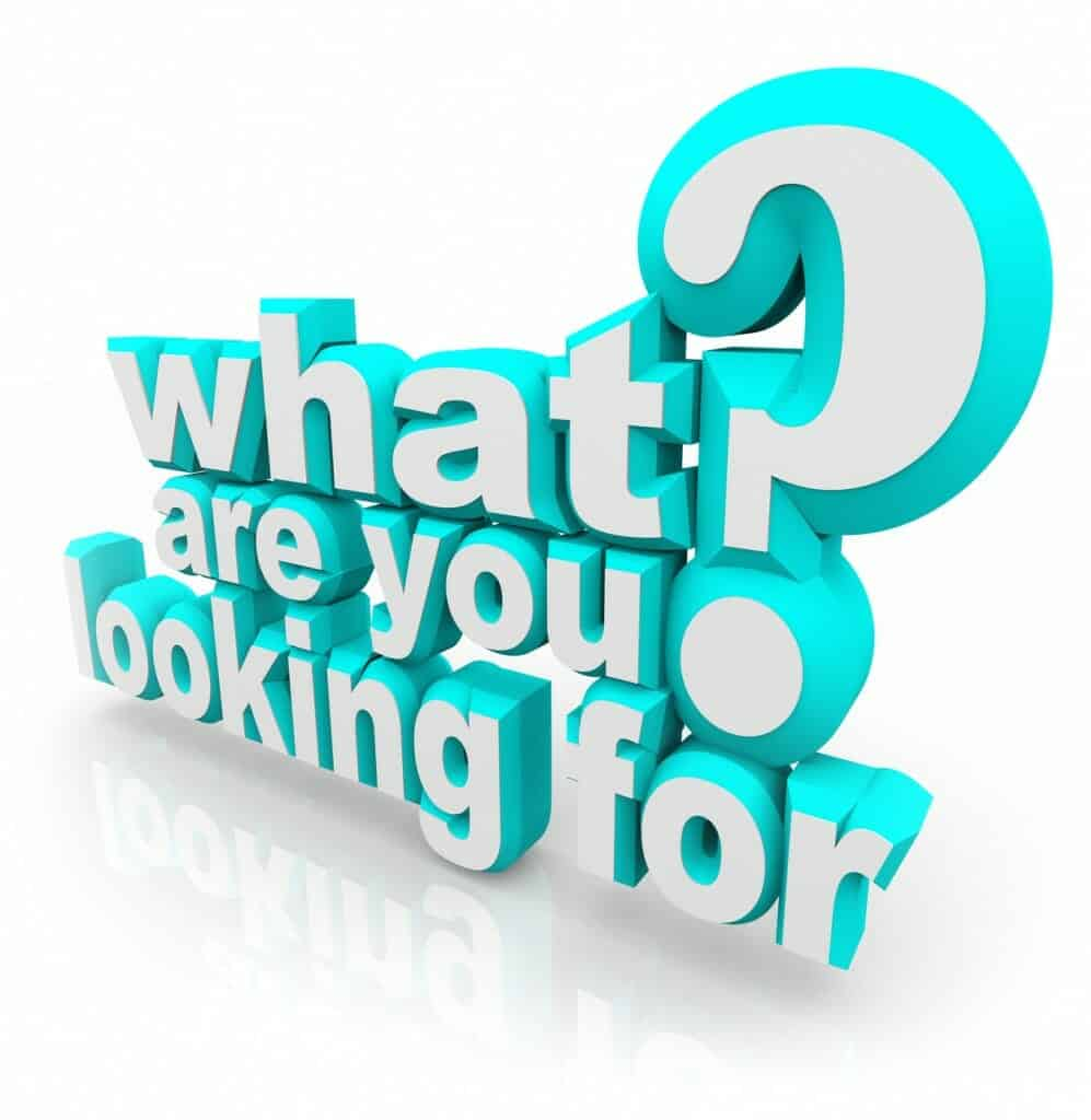 What Are You Looking For question asking your mission, goal, quest or objective in searching for something you want or need