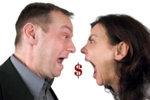 Couple screaming at each other with a dollar sign hanging between them