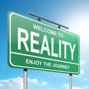 Road sign: Welcome to Reality - Enjoy the Journey