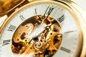 How Long Does a Divorce Take? Close up of the face of a gold watch