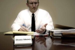Divorce attorney advising client.