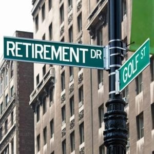"How to Divide Your Retirement Plan in Divorce Street signs for ""Retirement Dr."" and ""Golf St."""