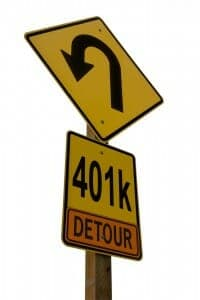 401(k) Road sign with a detour on it