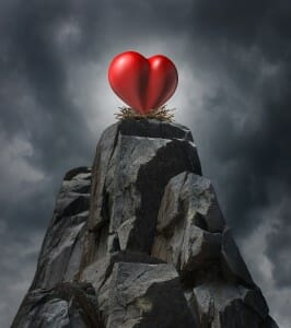 Don't Believe in Divorce. Heart on top of a stone mountain