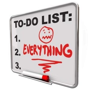 "White board with ""To Do"" list stating ""Everything."""