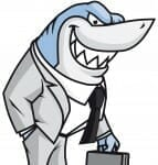 Cartoon of shark dressed as a lawyer