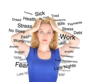Frazzled woman pulling on her hair with words like: Stress, Fear, and Worry surrounding her.