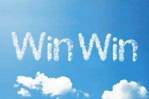 """Win Win"" written in the clouds."