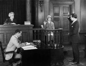 Vintage court room scene with woman testifying - How to Choose the Divorce Process That Will Work Best for You