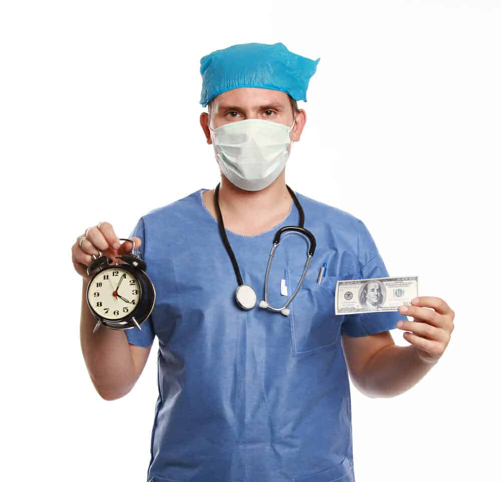 Surgeon holding a clock and a $100 bill.