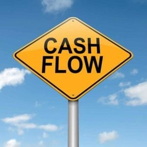 Yellow cash flow sign
