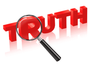 "3D Red Word ""Truth"" with magnifying glass."