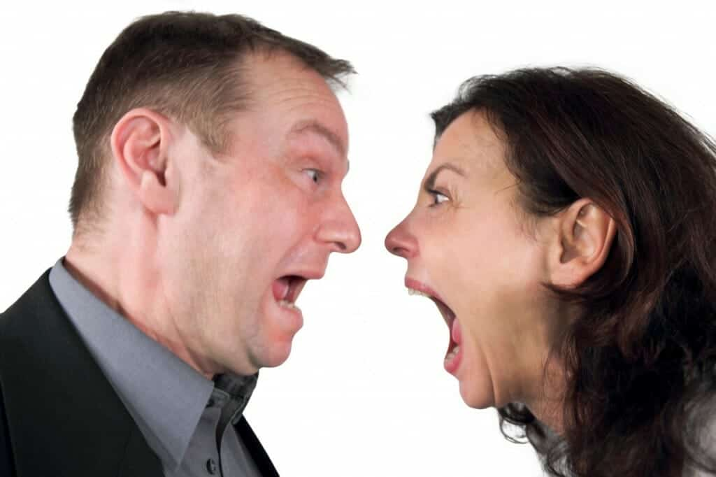 Couple screaming in each other's faces. Wonder why does divorce take so long?!