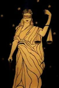 Blindfolded lady justice