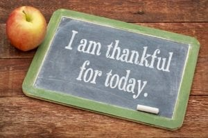 "Small blackboard with ""I am thankful for today"" sitting next to an apple - thankful for your divorce"