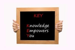 "Blackboard with the word ""Key:"" Knowledge Empowers You written on it in chalk"