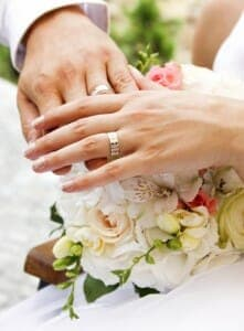 Close up of bride and groom's wedding rings