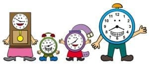 Cartoon family of clocks.