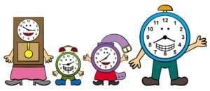 Cartoon family of clocks.