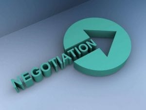 "3D turquoise word ""Negotiation"" ending in an arrow"