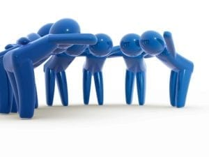 Blue figures huddle together to make a decision. Illinois Collaborative Divorce