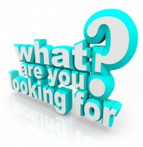 3d Question in white and teal letters: What Are You Looking For?