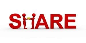 "Red 3d Word ""Share"" with the ""h"" being formed by two figures both holding a box."