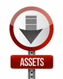"Red sign with the word ""Assets"" and an arrow pointing down."