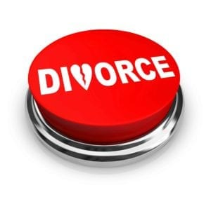 "Red button with the word ""Divorce""written on it in white letters"