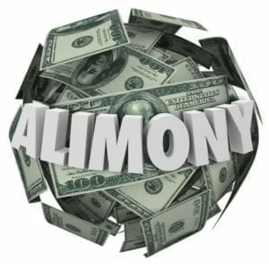 Alimony word in white 3d letters on a ball of money to illustrate spousal support