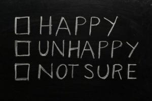 "Words on a blackboard :""Happy,"" ""Unhappy,"" ""Not Sure."""